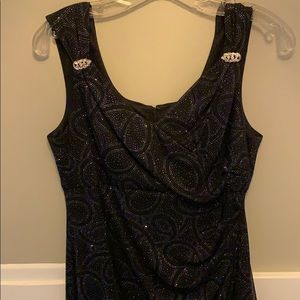Black formal dress with silver accents